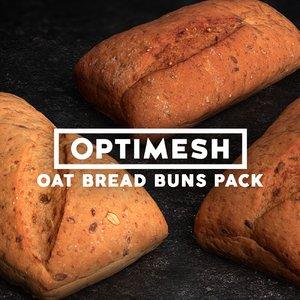 oat breads pack 3D model
