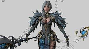 3D model warrior elf girl 03