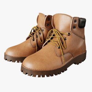 light brown leather boots 3D