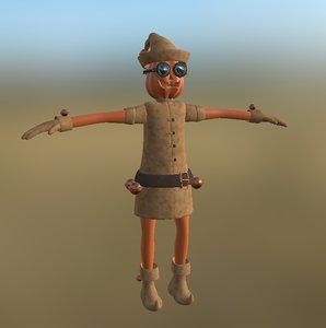 3D model elf gnome rigged