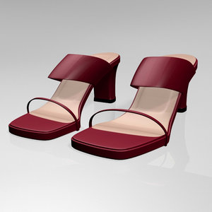 stylish block-heel slide sandals 3D