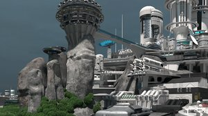 sci-fi colony buildings structures 3D