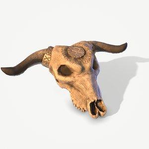 3D ready cow skull nordic model