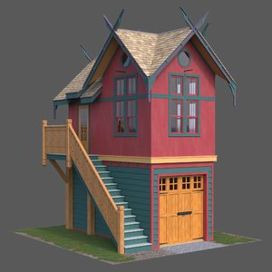 wood house wooden 3D model