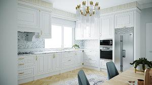 3D kitchen interior scene corona model