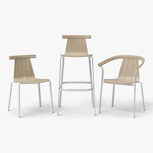 3D model set chair bar stool