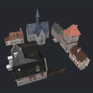 ww2 french village 3D model