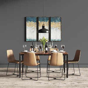3D dining set 32 leather chair model