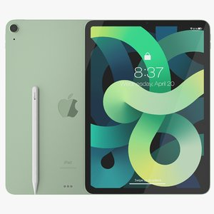 air 2020 green ipad 3D