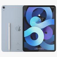 iPad Air 2020 Sky Blue 3D Model