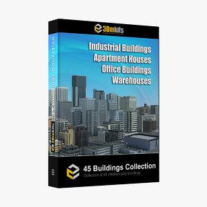 3D building 45 apartment houses