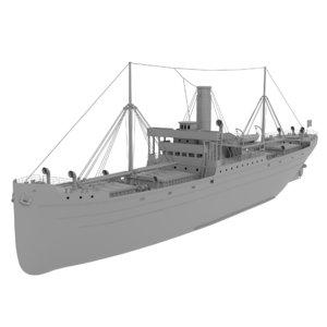 3D merchant steam ship