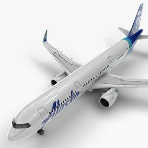 3D a321 neo alaska airlines model
