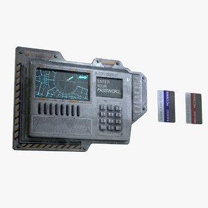 electric lock keypad card 3D