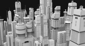 3D sci-fi skycrapers model