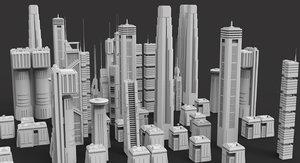 pack sci fi buildings 3D