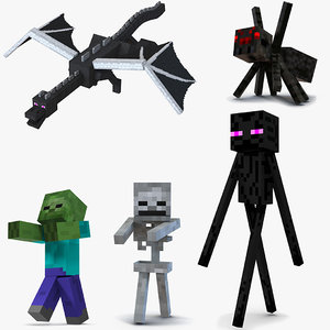 3D minecraft characters rigged 3