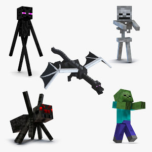 minecraft characters rigged 3 model