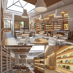 store cafe interior books 3D model