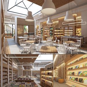 store cafe interior books 3D model