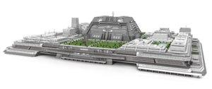futuristic city center platform 3D model