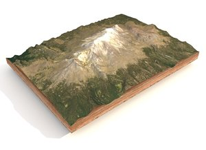3D mountain landscape volcano central model