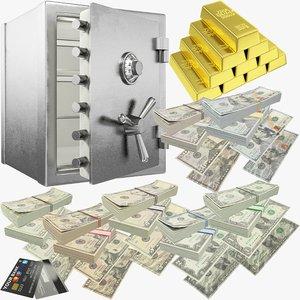 3D model dollars safe v1 money