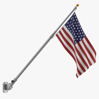 Flag Pole with US Flag 02