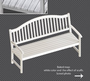 3D white bench old scuffs