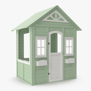 children house green modeled 3D