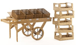 wood trolley crates 3D model