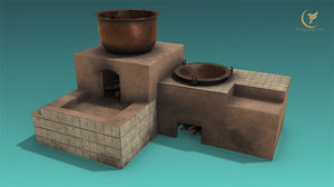 low-poly furnace 3D model
