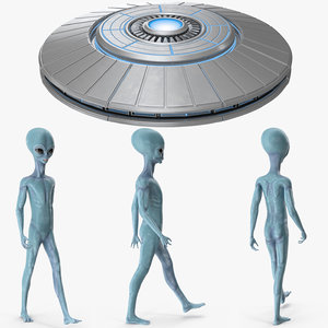 3D model space alien ufo rigged