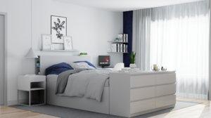 set bedroom furniture ikea 3D model