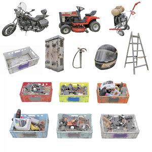 3D ranch old garage asset