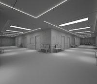 Hospital Hallway Corridor-No Textures