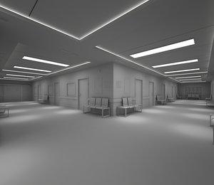 3D hospital hallway corridor-no