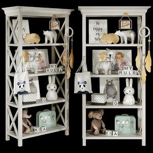 3D kids bookshelf set 03 model