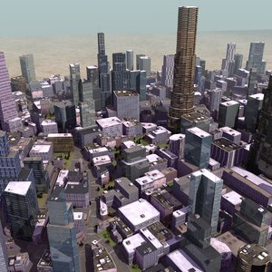 3D cityscape buildings level