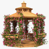 Wooden Gazebo Covered with Pink Roses