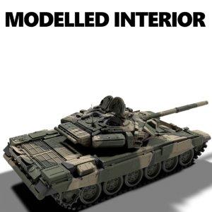 3D t90 battle tank turret model
