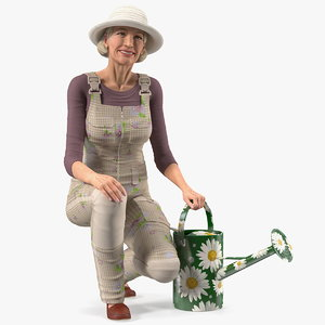 old lady gardening model