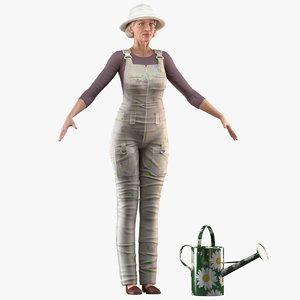old woman farmer t 3D model