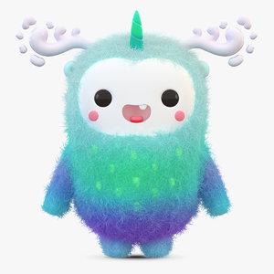 cute cartoon monster fur 3D model