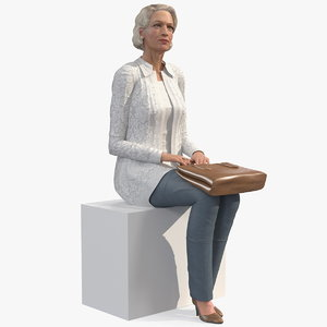 elderly lady casual clothes 3D model