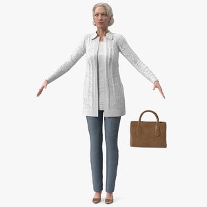 3D elderly lady casual clothes