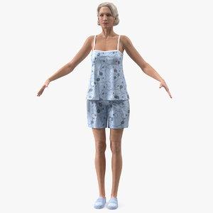 elderly woman pijama t 3D model