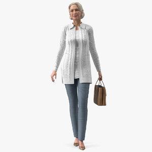 elderly woman wearing casual 3D