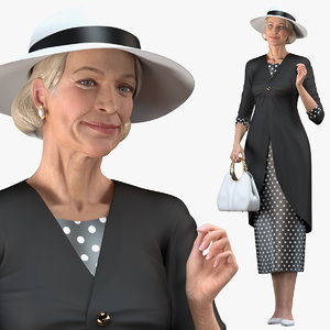 3D elderly woman wearing casual model