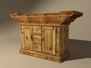 wooden bread bowl 3D model